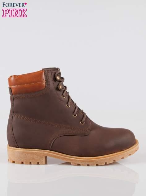 Ciemnobrązowe buty trekkingowe damskie typu traperki
