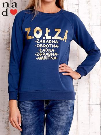 Ciemnoniebieska bluzka z napisem ZOŁZA