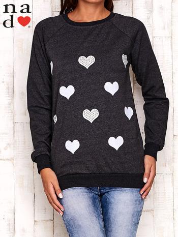 Ciemnoszara bluza z serduszkami