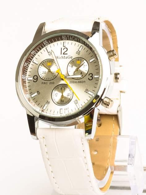 Cudny biały zegarek damski z ozdobnym tachometrem
