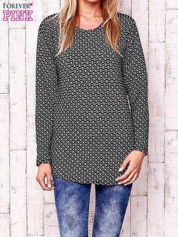 Czarna fakturowana bluzka z motywami graficznymi