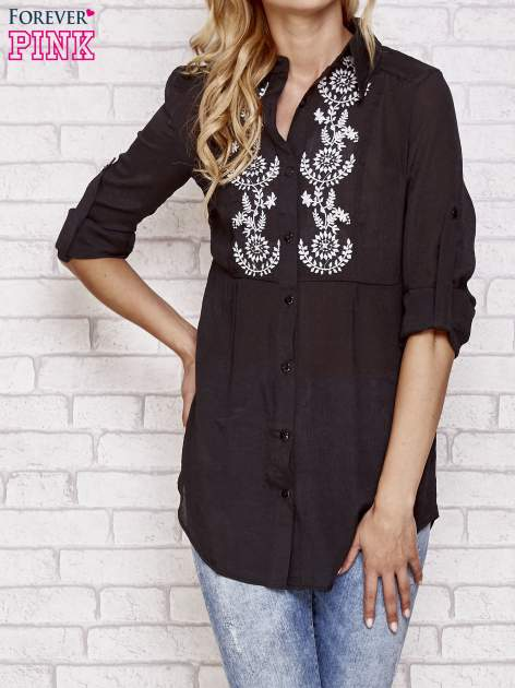 Czarna koszula hippie z haftem