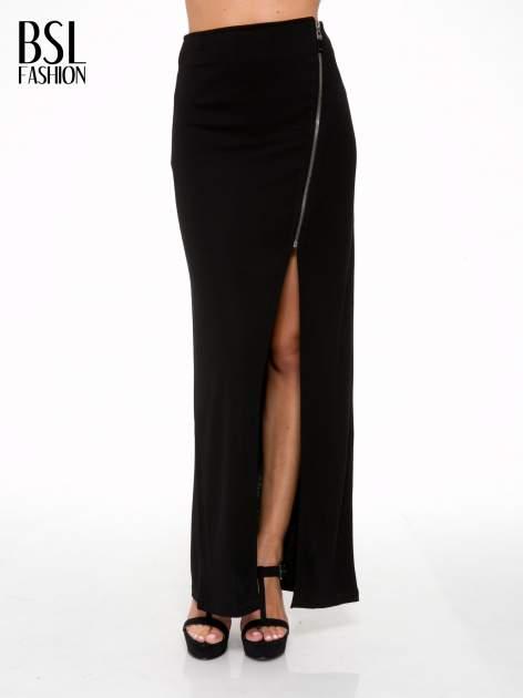 Czarna spódnica maxi z asymetrycznym zamkiem