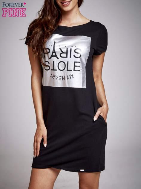 Czarna sukienka dresowa ze srebrnym printem PARIS