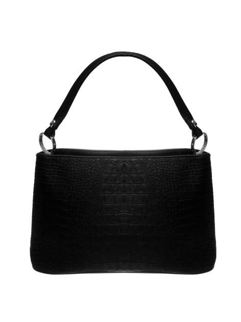 Czarna torebka na ramię tłoczona na wzór skóry krokodyla