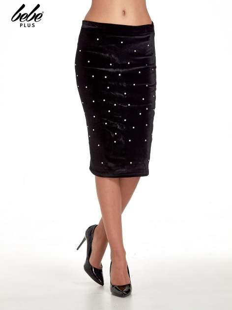 Czarna welurowa spódnica z kryształkami