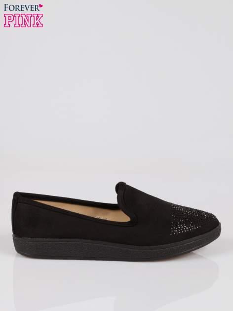 Czarne buty slippers z dżetami