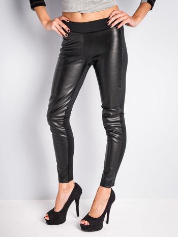 Czarne dwustronne legginsy skórzane