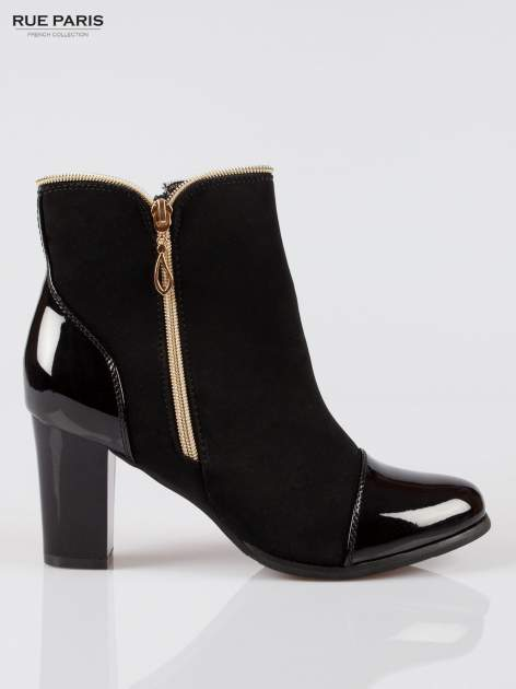 Czarne eleganckie botki na słupku z lakierowanym noskiem i złotym suwakiem