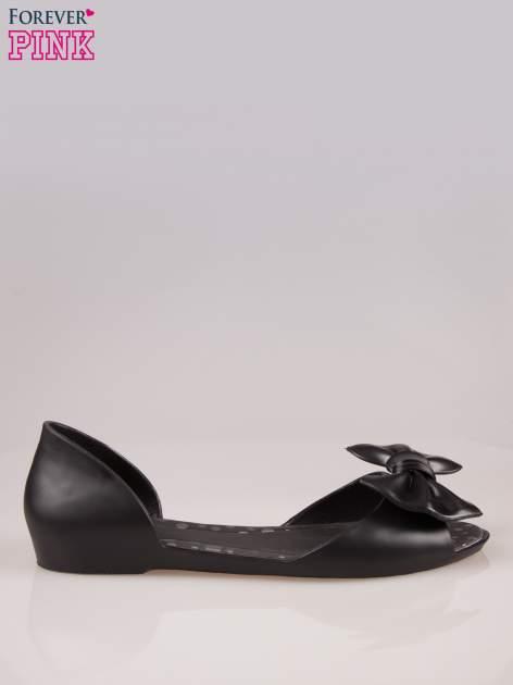 Czarne gumowe baleriny peep toe z kokardą