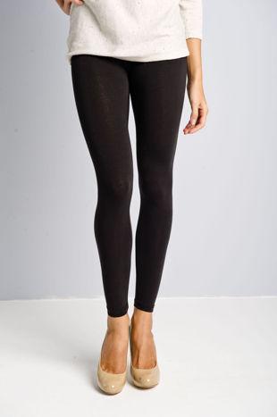 Czarne legginsy bawełniane z gumką w pasie