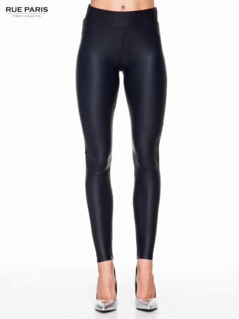 Czarne modelujące skórzane legginsy