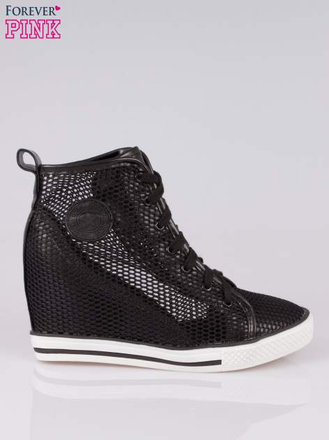 Czarne siateczkowe sneakersy damskie