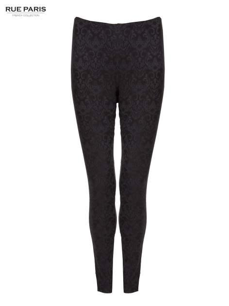 Czarne żakardowe spodnie w orientalny wzór