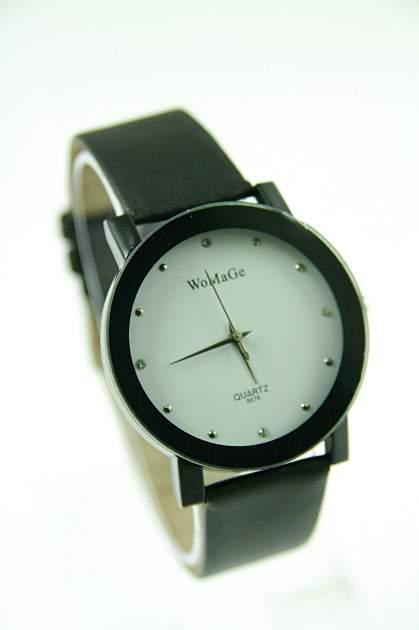 Czarno-biały zegarek damski z cyrkoniami na skórzanym pasku
