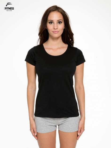 Czarny bawełniany t-shirt damski typu basic