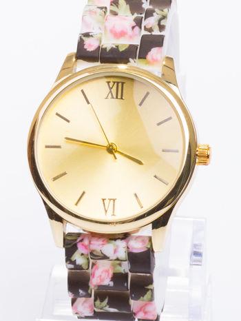 Czarny kwiatowy zegarek damski ze złotą tarcżą