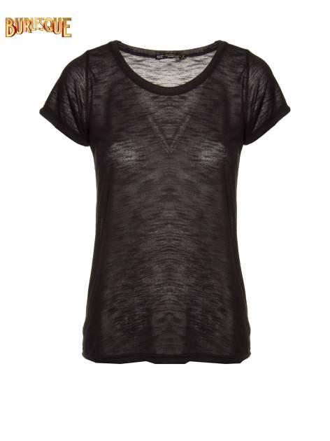 Czarny półtransparentny t-shirt