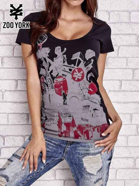 Czarny t-shirt z industrialnym nadrukiem