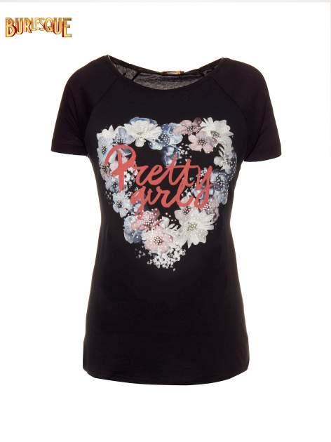 Czarny t-shirt z nadrukiem kwiatowym PRETTY GIRL