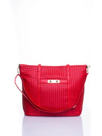 Czerwona pleciona torba shopper bag ze złotym detalem