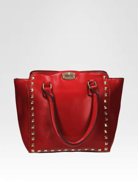 Czerwona torebka na ramię z dżetami