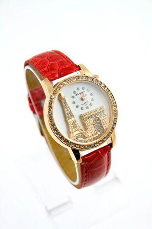 Czerwony zegarek damski z cyrkoniami na skórzanym pasku