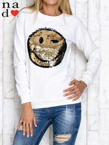 Ecru bluza z dwustronną naszywką z cekinów