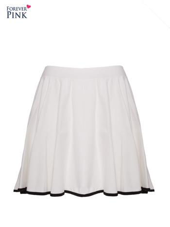 Ecru spódnica szyta z koła z kontrastową lamówką na dole