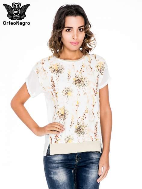 Ecru t-shirt w kwiaty z łączonych materiałów