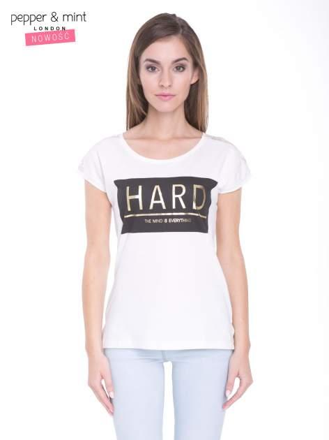 Ecru t-shirt z metalicznym nadrukiem HARD i koronkową wstawką z tyłu