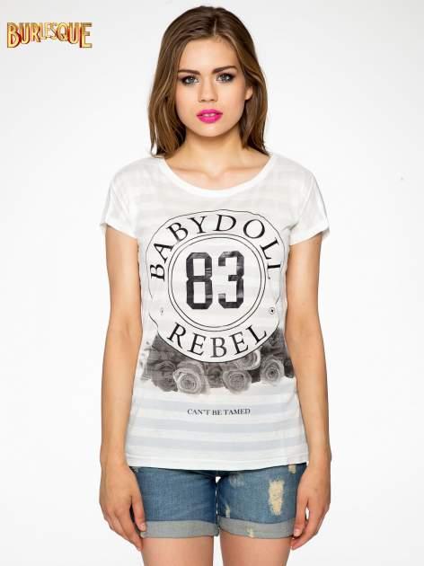 Ecru t-shirt z nadrukiem BABYDOLL REBEL 83