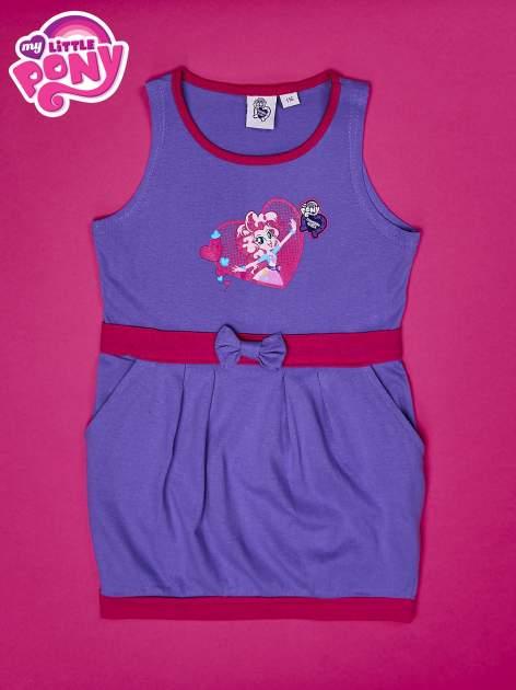 Fioletowa sukienka dla dziewczynki z kokardką i kieszonkami MY LITTLE PONY