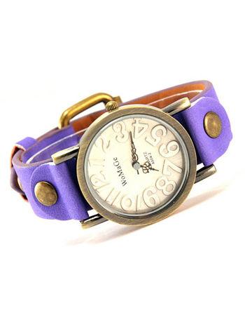 Fioletowy zegarek damski na pasku z tarczą z miedzianego złota