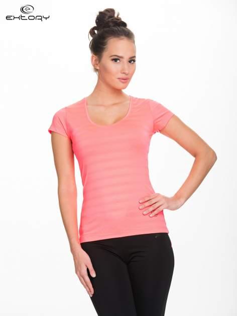 Fluoróżowy damski t-shirt sportowy w paski