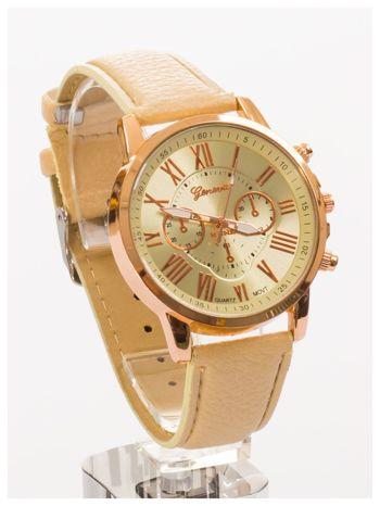 GENEVA Beżowy zegarek damski na skórzanym pasku