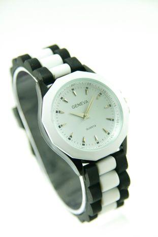 GENEVA Bialo-czarny zegarek damski na silikonowym pasku