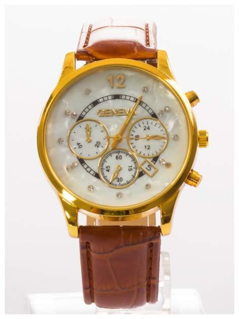 GENEVA Brązowy zegarek damski na skórzanym pasku