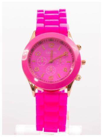 GENEVA Ciemnoróżowy zegarek damski na silikonowym pasku