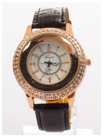 GENEVA Czarny damski zegarek na pasku ze skóry lakierowanej