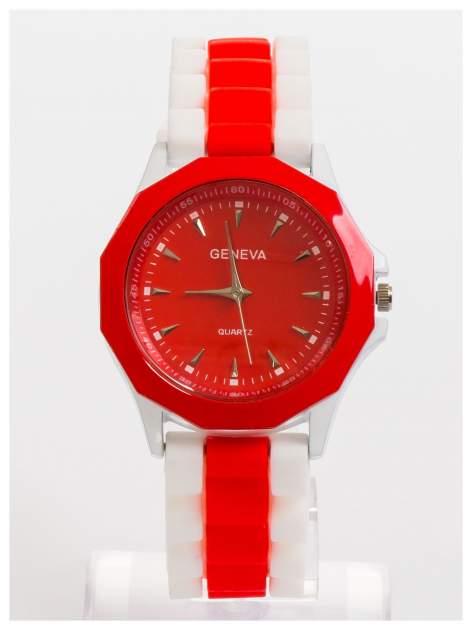 GENEVA Czerwono-biały zegarek damski na wygodnym silikonowym pasku