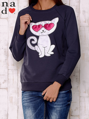 Grafitowa bluza z aplikacją kota