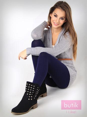 Granatowe gładkie legginsy bawełniane