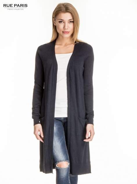 Granatowy długi sweter kardigan z rozporkami