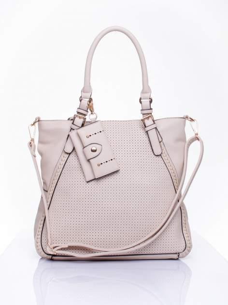 Jasnobeżowa dziurkowana torba shopper z portfelem