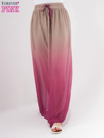Jasnobrązowa długa spódnica maxi z efektem ombre
