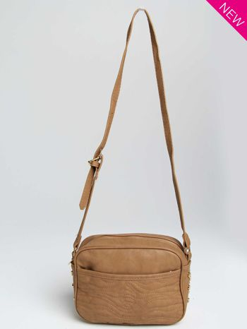 Jasnobrązowa mała torebka listonoszka z dżetami