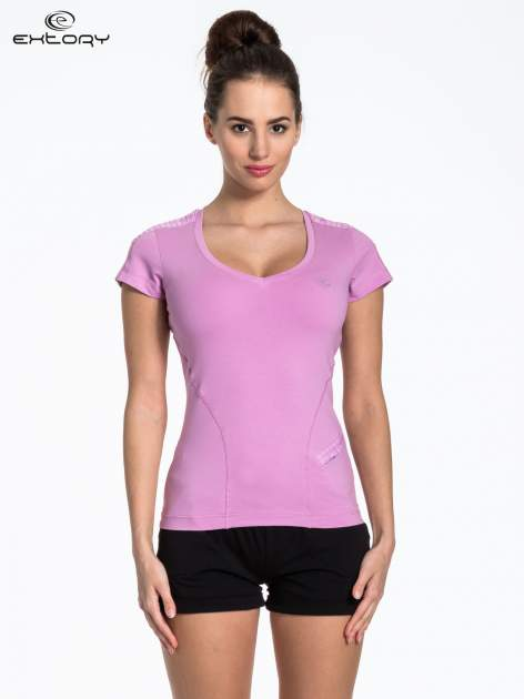 Jasnofioletowy sportowy t-shirt z wszytą kieszonką