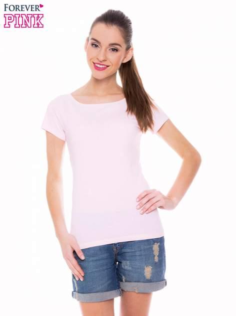 Jasnoróżowy basicowy t-shirt z okrągłym dekoltem