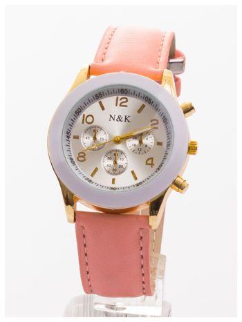 Jasnoróżowy damski zegarek z ozdobnym tachometrem